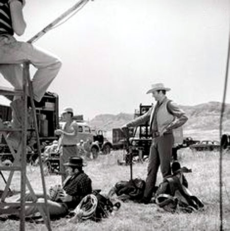 "James Arness on location for an episode of ""Gunsmoke""."