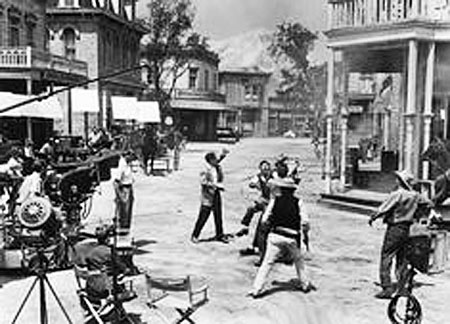 Great shot of filming on the Paramount Western street.