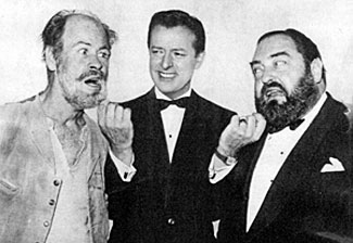 "Mike Stokey, host of ""Pantomime Quiz"" (renamed ""Stump the Stars"" in the '60s) tweaks the whiskers of ""Rawhide""'s Paul Brinegar and actor Sebastion Cabot."
