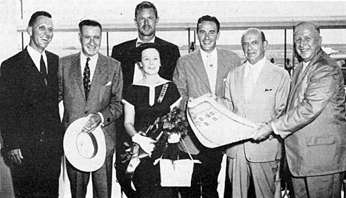 "At the premiere of Republic's ""The Last Command"" ('55) in San Antonio, TX, associate producer Frank Lloyd (second from left), stars Sterling Hayden, Richard Carlson and Republic president Herbert J. Yates were presented with an official ""Heritage of Freedom Day"" proclamation and other gifts by Mayor Kuykendall (right) and Mrs. Megarity, acting for Texas Citizens and Pioneer Patriots. (Man on the left is unidentified.)"