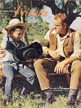 Dan Blocker watches as a young fan tries on Hoss Cartwright's hat for the  cover of FRIENDS magazine.