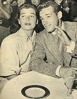 Guy Madison and wife Gail Russell out to dinner. They were married from '49 to '54.