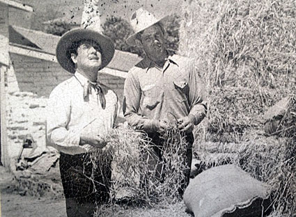 Leo Carrillo and ranch foreman Wally Handley near the stables at the Leo Carrillo Historic Park in Carlsbad, CA.