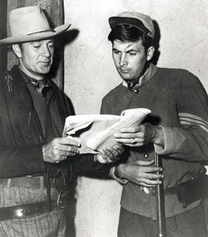 "Gary Cooper and Fess Parker study the script for ""Springfield Rifle"" ('52 Warner Bros.). (Thanx to Neil Summers.)"