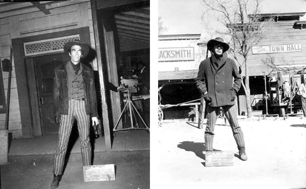 "On the back lot of Warner Bros., Jack Elam poses for wardrobe shots for his charater of Deputy J. D. Smith on the short-lived but excellent Warner Bros. series ""The Dakotas"" in 1963. (Thanx to Marty Kelly.)"
