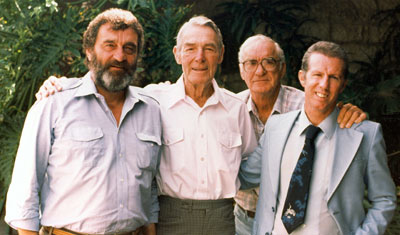 Actor Victor French, stuntman Al Wyatt and stuntman/actor Neil Summers visited western great Randolph Scott at his home in Beverly Hills in 1985. (Thanx to Neil Summers.)