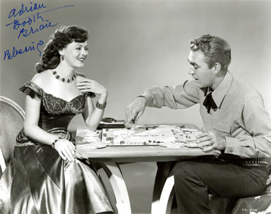 Adrian Booth and Forrest Tucker play a little game of Monopoly to relax between scenes.