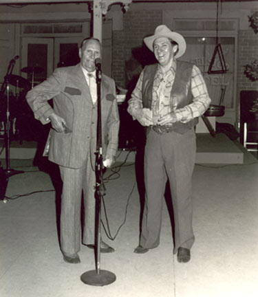 Gene Autry and Pat Buttram at CBS in North Hollywood for an event honoring Vera Ralston, wife of Republic honcho Herbert J. Yates. Date unknown.