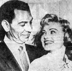 "Jack Webb, star of TV's ""Dragnet"", and his bride, Jackie Loughery, at their wedding reception in Hollywood, June 1958. The third Mrs. Webb was a former Miss U.S.A. and co-starred as Letty Bean with Edgar Buchanan on TV's ""Judge Roy Bean"" from '55 to '56. It was Loughery's second marriage."
