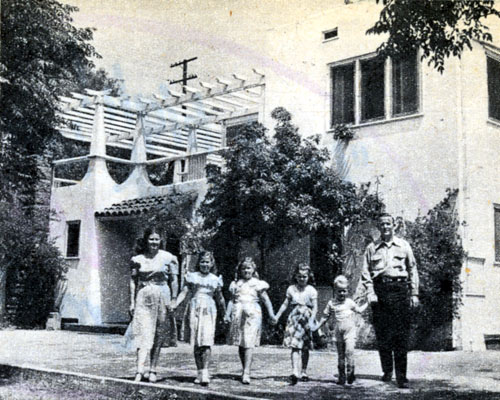 Monogram B-western star Jimmy Wakely and his family before their North Hollywood home in November 1948.