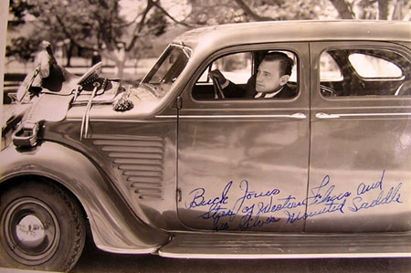 "Buck Jones ""saddles up"" for a ride in his 1937 Chrysler. (Courtesy Bobby Copeland)."
