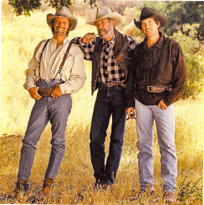 The Carradine brothers—Keith, David and Robert—at the Paramount Ranch in 1996.