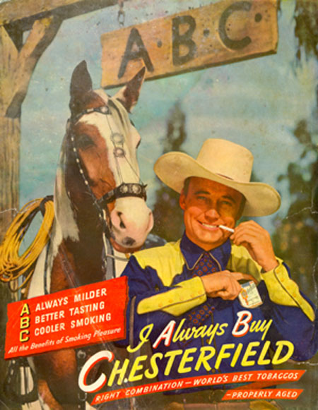 "Cowboy Cancer Alert! Dave O'Brien lights up for a 1946 Chesterfield ad. Perhaps ABC should stand for ""Always Bad Cancer""."
