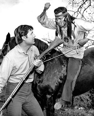 "Fess Parker battles the former Tonto—Jay Silverheels—as a renegade Cherokee on ""Daniel Boone: The Quietists"" (2/25/65)."