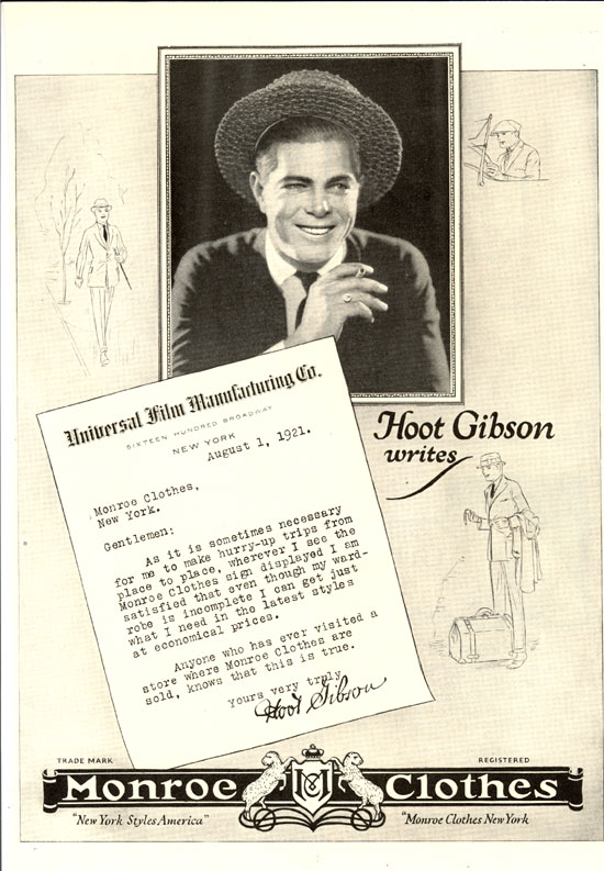 Hoot Gibson ad from THEATRE MAGAZINE for June 1922 endorsing Monroe Clothes of New York.