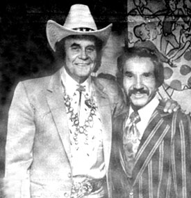 A cowboy legend and a music legend...Sunset Carson and Marty Robbins. Circa late '70s.