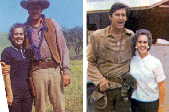 "In the '60s and '70s Loretta Brauckmann worked in Hollywood as a film caterer. She's seen here with James Arness and Fess Parker on the sets of ""Gunsmoke"" and ""Daniel Boone"", both in '64. (Pictures taken from REMINISCE magazine April 2010."