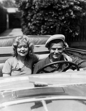 "Rex Bell and wife Clara Bow. In silents, Clara was known as the ""It"" Girl. Rex Bell was a late silents, early '30s B-western star who later became Lt. Governor of Nevada. (Thanx to Bobby Copeland.)"
