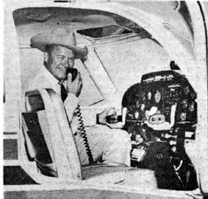 "Kirby Grant, best known as TV's ""Sky King"", is perched here on the flight deck of the new Sky Knight which he just test-hopped at the Wichita, Kansas, aircraft plant in the Fall of '62. Kirby took his annual refresher course in Wichita and at the same time toured the assembly line at the factory."