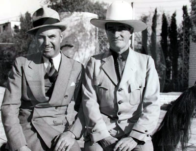 Boxing legend Jack Dempsey with cowboy legend Tom Mix. Circa mid '30s. Dempsey was World Heavy Weight Champion from 1919-1926. (Photo courtesy Bobby Copeland.)