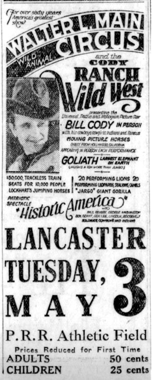 Bill Cody in person in Lancaster, PA, May 3, 1932.