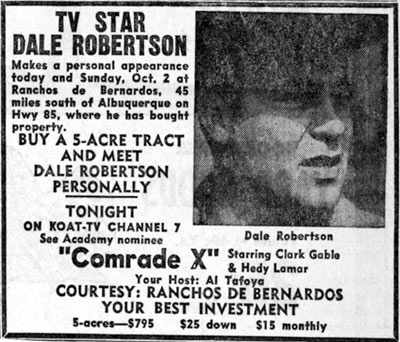 Newspaper ad for personal appearance of Dale Robertson in Albuquerque, New Mexico in October, 1960.