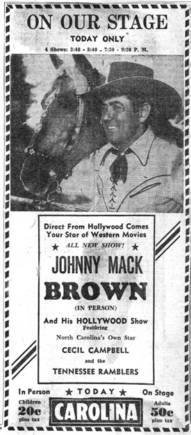 Johnny Mack Brown in person at the Carolina Theater, March 22, 1948.