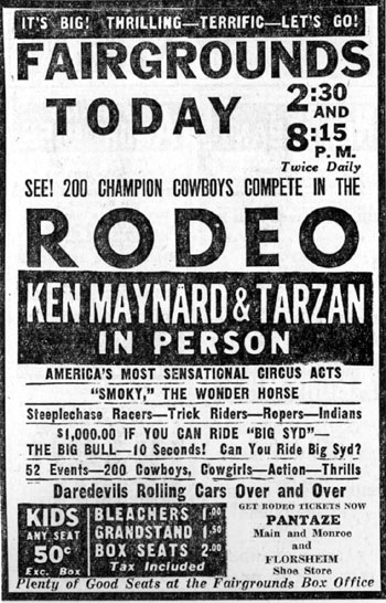 Ken Maynard and Tarzan in person in Memphis, Tennessee, April 13, 1947.