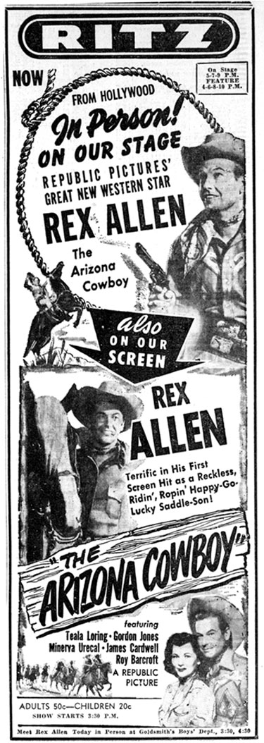 Newspaper ad for in-person appearance of Rex Allen in Memphis, Tennessee, April 4, 1950.
