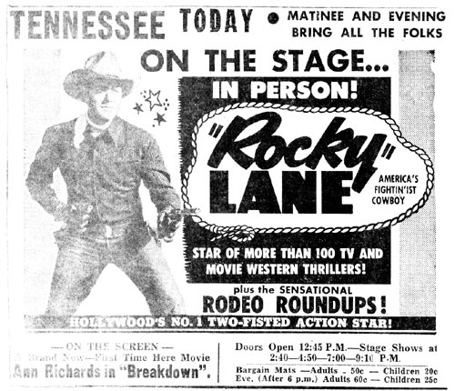 """Rocky"" Lane in person at the Tennessee theater in Knoxville, Tennessee in 1953."
