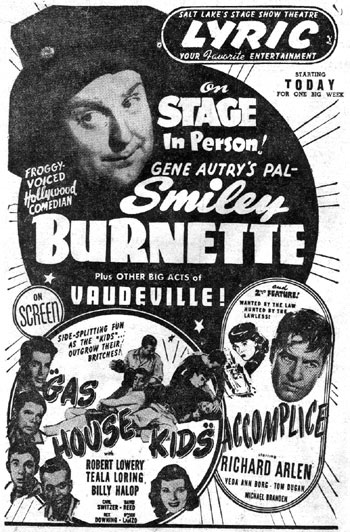 Smiley Burnette personal appearance in Salt Lake City, Utah, 1946. (Thanx to Billy Holcomb.)