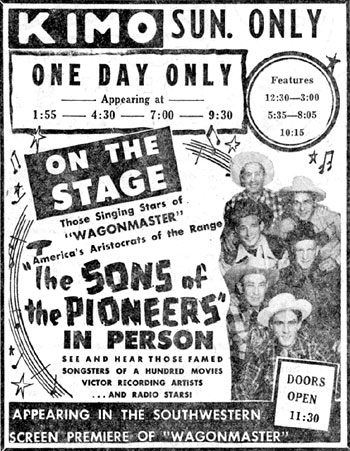 The Sons of the Pioneers in person at the Kimo Theater in Albuquerque, New Mexico in 1950.
