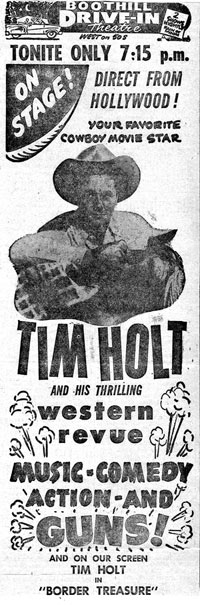 Newspaper ad for Tim Holt personal appearance in Dodge City, Kansas in 1950.