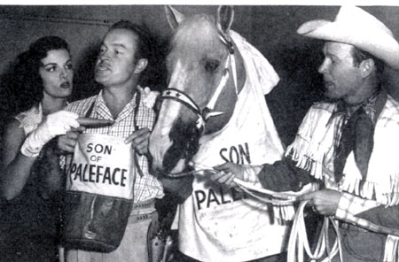 "A Paramount Pictures gag shot for ""Son of Paleface"" ('52) shows Bob Hope and Trigger both wearing their feedbags as Roy Rogers holds Trigger's reins and Jane Russell offers Hope a carrot."