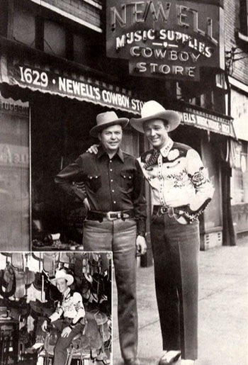 Roy Rogers with Walter Newell in front of Newell's Cowboy Store in St. Louis, Missouri. Inset photo shows Roy inspecting the Newell saddle shop. (Thanx to Bobby Copeland.)