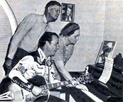 "Roy Rogers takes a little musical break with Maw and Paw (Grace Stafford and Dallas McKennon) of the ""Maw and Paw"" Walter Lantz cartoon series in '53. McKennon later played Cincinnatus on ""Daniel Boone"" and Stafford was Lantz's wife. Both were active in voice-over work for years."