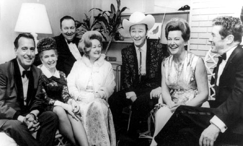 A great gathering...(Left to Right) Tennessee Ernie Ford and his wife, Tex Ritter and wife Dorothy Fay, Roy Rogers, Minnie Pearl, Roy Acuff.