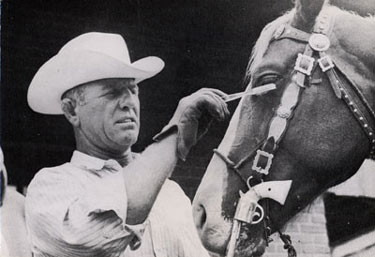 Gene Autry's Champion gets the best of care from one of his handlers.