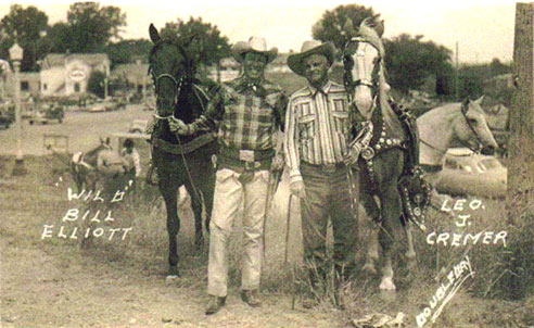 Wild Bill Elliott and rodeo legend Leo Cremer at Big Timber, Montana, in 1950. (Thanx to Billy Holcomb.)