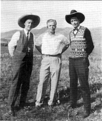 "Hoot Gibson was in Calgary, Canada, in 1925 to film his Universal western ""Calgary Stampede"". With Hoot here are George Webster (left), mayor of Calgary, and Guy Weadick (right), a wild west vaudeville performer who was instrumental in staging the first Calgary Stampede in 1912."