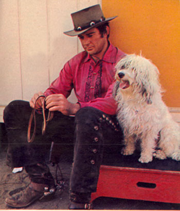 "ames Stacy takes a break between scenes of his ""Lancer"" TV series in which he starred as Johnny Madrid (Lancer). February, 1969."