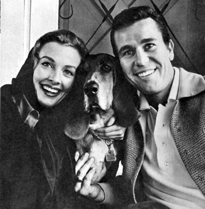 "Don Durant, star of ""Johnny Ringo"" ('59-'60), with is wife Trudy Wroe and their lovable Bassett Hound Sir Richard."
