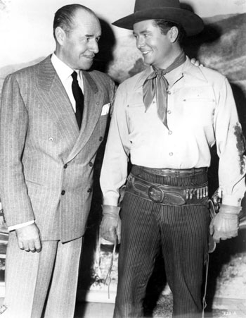Jack Holt seems very proud of his son Tim Holt's RKO western features in the late '40s-early '50s.