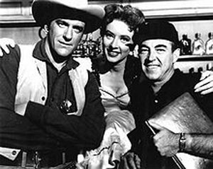 "James Arness, Amanda Blake and Charles Marquis Warren who was producer of ""Gunsmoke"" for the first season and part of the second."