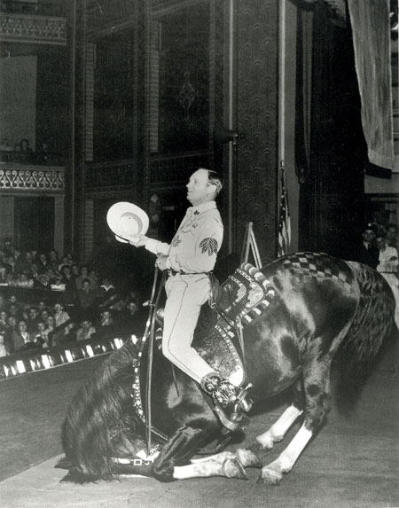 Gene Autry and Champion at London's Empress Hall in 1953.
