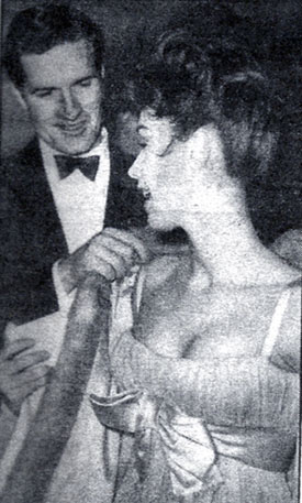 "All spiffed up, Hugh (""Wyatt Earp"") O'Brian escorts British actress Jackie Lane to the opening night in London of Tennessee Williams' play, ""The Rose Tatoo"" in 1959. (Thanx to Terry Cutts.)"
