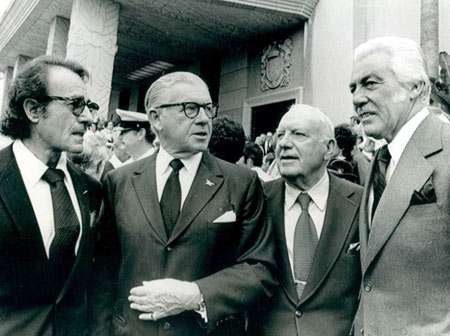 Senator George Murphy (center) meets with Gilbert Roland (left), Pat O'Brien and Cesar Romero. Murphy was a Senator '65 to '71. Roland and Romero had both played the Cisco Kid on screen. (Thanx to Bobby Copeland.)