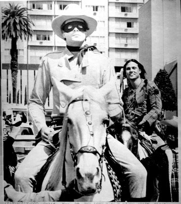 "Klinton Spilsbury as The Lone Ranger and Michael Horse as Tonto head up a parade during the time of ""The Legend of the Lone Ranger"" release in '81."