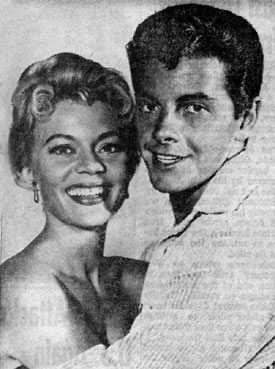 "Peggie Castle and Peter Brown of ""Lawman"" were New Mexico State Fair guest stars September 17-18, 1960."