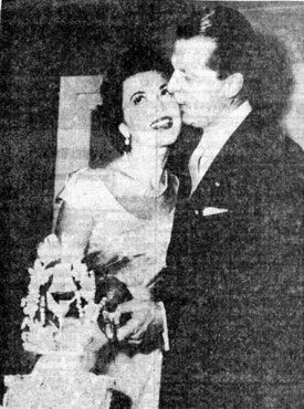 October 6, 1953, wedding picture of Ann Rutherford and husband producer William Dozier. Wedding was in New York.